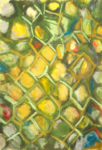 Abstract Greenish Honeycomb : abstract, abstraction, allover, geometric cell pattern, contemporary soft pastel painting pas097,2003 | Kazuya Akimoto Art Museum