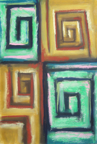 Four Angular Pastel Spirals : abstract cubism,  geometric, hard line, symmetrical spiral pattern, abstract pastel painting pas132, 2003 | Kazuya Akimoto Art Museum