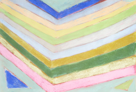 Abstract Pastel Reflection  : abstract geometric raw art, art brut,  pastel pale color pattern, naive stripe pattern, reflection parallel line patterns, geometric pattern pastel painting pas137, 2003  Kazuya Akimoto Art Museum