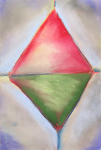 Immature Pastel Diamond :geometric expressionism pastel painting, abstract geometric raw art, abstract naive symbolism, pastel geometric painting pas139, 2003 | Kazuya Akimoto Art Museum