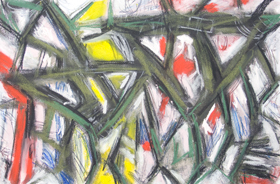 Abstract Pastel Green Bee :abstract graffiti, line pattern pastel insect symbolism painting, abstract bee, bug symbolism, abstract bee, green line drawing, thick line pattern abstract living thing pastel painting pas158, 2003 | Kazuya Akimoto Art Museum