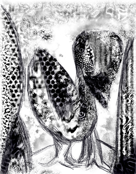 Digital Duck : abstract digital texture, digital black and white fractal pattern, odd, strange, weird, animal symbolism, winged animal, abstract living thing, expreimental, virtual, digital painting, before 2000 | Kazuya Akimoto Art Museum : Classics