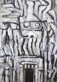 Devil's Mouth: primitive, raw art, abstract, stone, nature scene, ambiguous symbolism, monotone, monochrome, symblolic sign element, thick line, abstract symbolic artifact, architectural, rough texture, entrance, acrylic painting #6506, 2007 | Kazuya Akimoto Art Museum