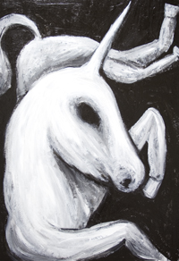 Solitary, but calm, happy Unicorn  : New mythological creature painting, animal horse symbolism, black and white animal painting, biblical creature, legendary, mythological symbolism, religious, religious symbolism, Christian symbolism painting, medieval ancient lore theme, calm, serene, tranquil, contemporary raw art, art brut, contemporary naive style, acrylic painting #7588, 2008 | Kazuya Akimoto Art Museum
