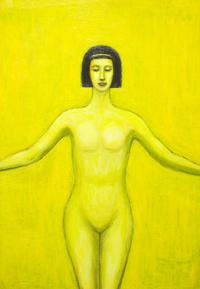 Egyptian Girl ( The Supremacy of Purity ) : new mythological contemporary realism painting, yellow color symbolism, young girl symmetrical portrait with Egyptian bob haircut painting, human figure, female body symbolism, female body curves, body outlines, Egyptian, ancient symbolism, contemporary religious icon, Egyptian goddess Serket image, figurative acrylic painting # 7598, 2008 | Kazuya Akimoto Art Museum