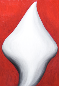 Abstract Fluid Virgin Mary : new, abstract female body symbolism painting, new Christianity, Virgin Mary abstract human figure, contemporary religious icon portrait painting, white color symbolism, massive body, massive solid, abstract fluidity virtual 3d woman symbolism, #8041, 2008 | Kazuya Akimoto Art Museum