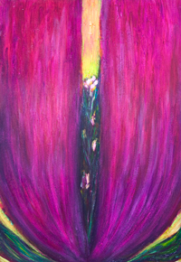Abstract Magenta Tulip Flower : new abstract flower painting, magenta, pink, red, purple tulip, petals, corolla, complementary colors, flower symbolism, botanical, abstract plant, color symbolism, acrylic painting #9249, 2010 | Kazuya Akimoto Art Museum