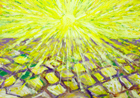 Abstract Drought : new abstract landscape, yellow sun radiation pattern painting, abstract natural soil pattern, natural disaster theme,sun symbolism, abstract landscape, abstract nature, yellow color symbolism, complementary color pattern, acrylic painting #9401, 2010 | Kazuya Akimoto Art Museum