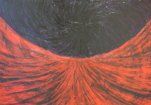 The Black Sun : abstract space scene painting, abstract landscape, abstract symbolism, black and red, spiral line pattern, abstract space, abstract distorted field line pattern, mythological, brush stroke pattern, dark acrylic painting #9676, 2011 | Kazuya Akimoto Art Museum