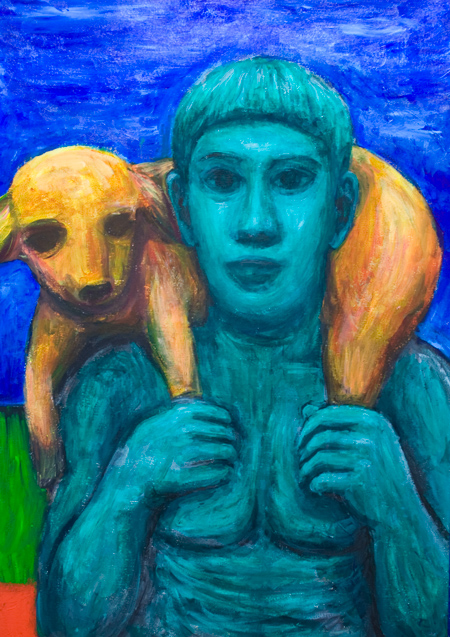 Green Calf Bearer : famous ancient Greek sculpture (The Moschophoros, Hermes Kriophoros) theme contemporary painting, expressionist interpretation of Ancient Greek Art, man and animal, colorful human figure, mythological, acrylic painting #9708, 2011 | Kazuya Akimoto Art Museum